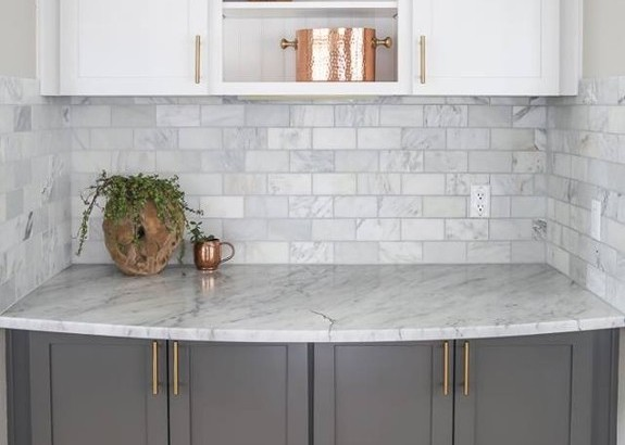 Tile Backsplash & Marble Counter